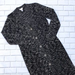 Chico's Long Marbled Cardigan Duster Sweater